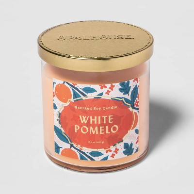 15.1oz Lidded Glass Jar 2-Wick White Pomelo Candle - Opalhouse™