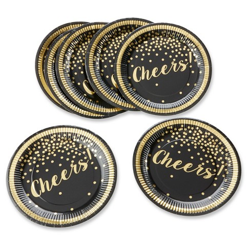 24ct Kate Aspen Party Time Gold Foil Cheers Paper Plates - image 1 of 1