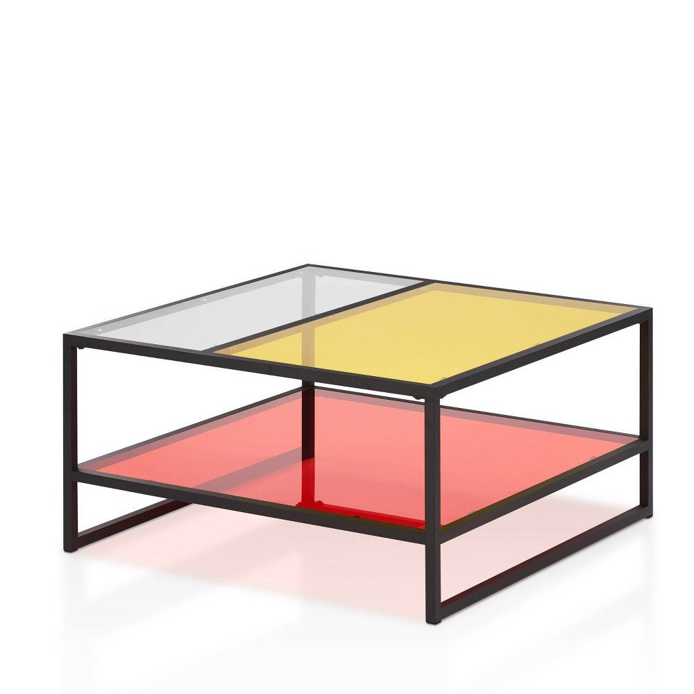 You won\\\'t find a table like this in the mainstream furniture industry. Designed for the modern fashionista, this retro glass table combines three shades for an underground feel. The black iron frame holds a large lower red shelf and a partitioned yellow and white tabletop. The colorful yet see-through effect creates a liberating and artistic feel.