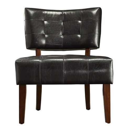 Elizabeth Armless Faux Leather Accent Chair - Dark Brown - Inspire Q ...