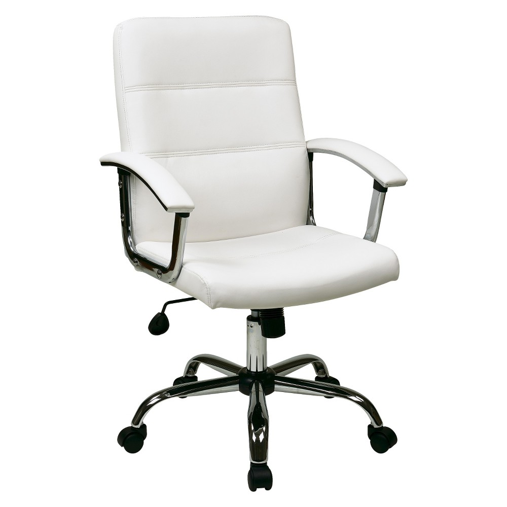 Image of Office Star Leather Task Chair - White