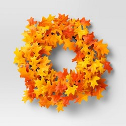 "22"" Artificial Oak Leaf Wreath Orange/Yellow - Threshold™"