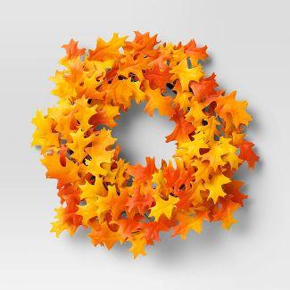 "22"" Artificial Oak Leaf Wreath Orange/Yellow - Threshold™"