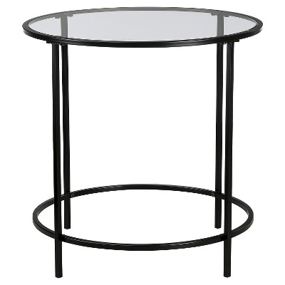 Soft Modern Round Side Table - Black/Clear Glass - Sauder