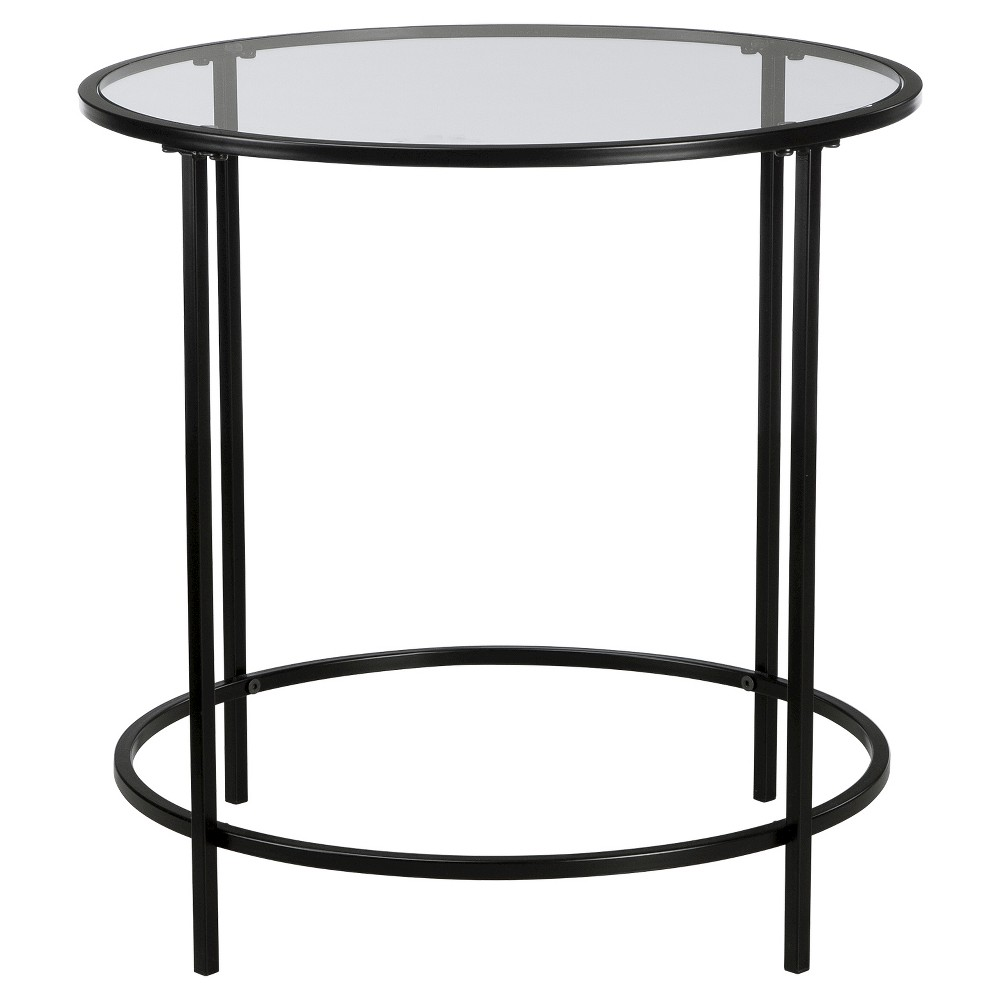 Image of Soft Modern Round Side Table - Black/Clear Glass - Sauder, Clear Black