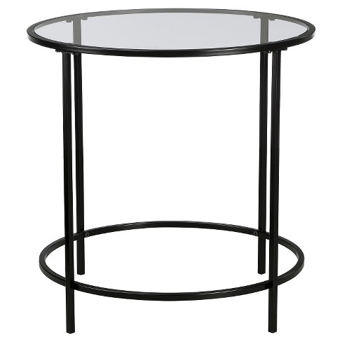 Soft Modern Round Side Table Black Clear Glass Sauder Target