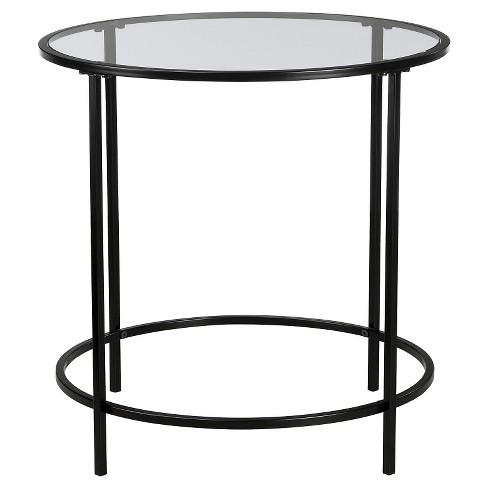 Soft Modern Round Side Table Black Clear Gl Sauder