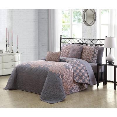 Geneva Home Fashions Queen 5pc Avondale Manor Amber Quilt & Sham Set Gray /Blush