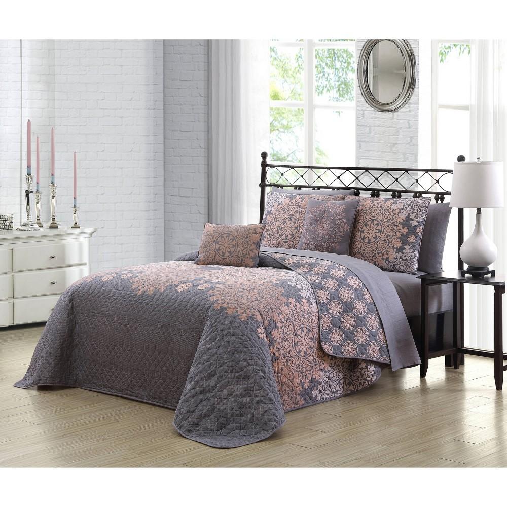 Image of Geneva Home Fashions Queen 5pc Avondale Manor Amber Quilt & Sham Set Gray /Blush