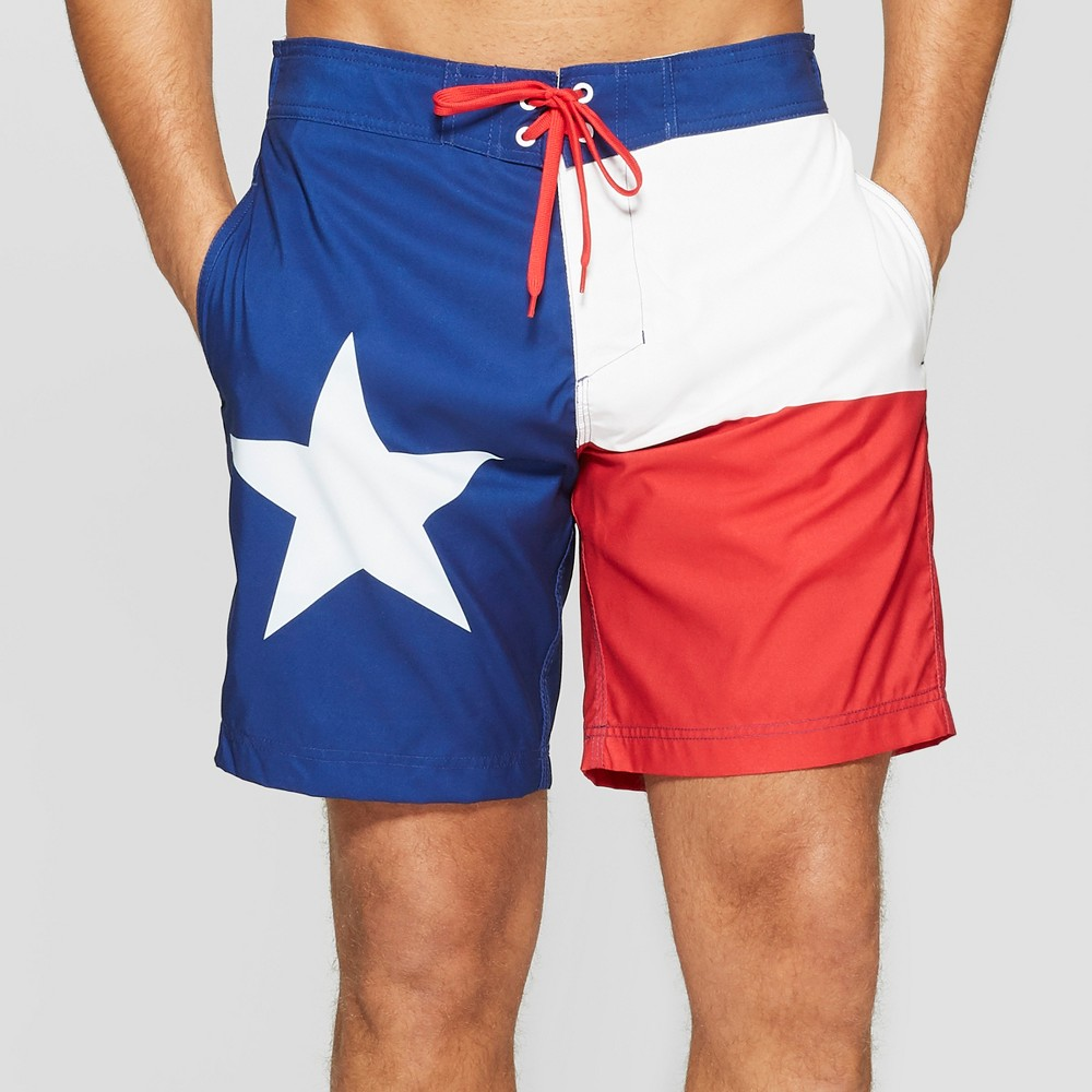 Men's 10 Texas Flag Board Shorts - L, Red