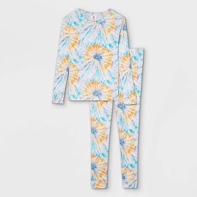 Kids' Tie-Dye Print 100% Cotton Tight Fit Matching Family Pajama Set - Teal