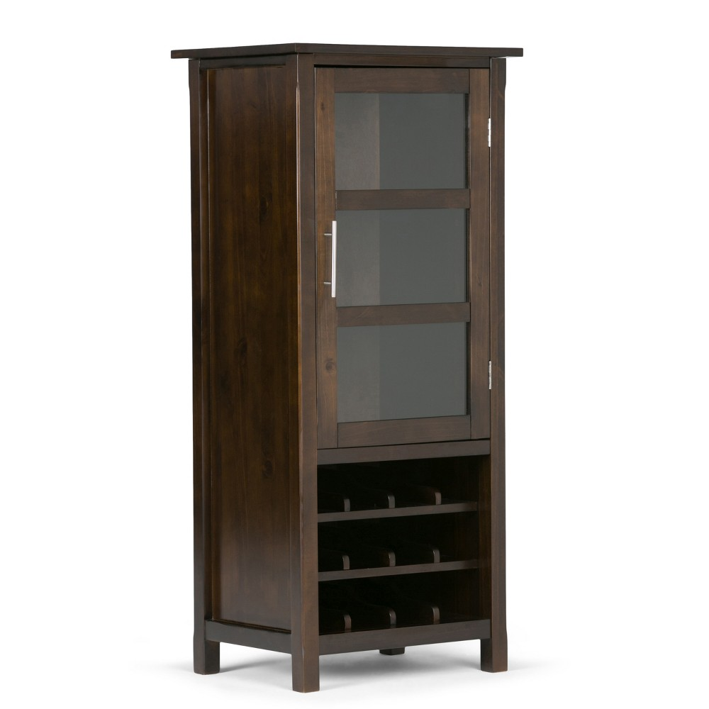 "Image of ""22"""" Franklin Solid Wood High Storage Wine Rack Cabinet Rich Tobacco Brown - Wyndenhall"""