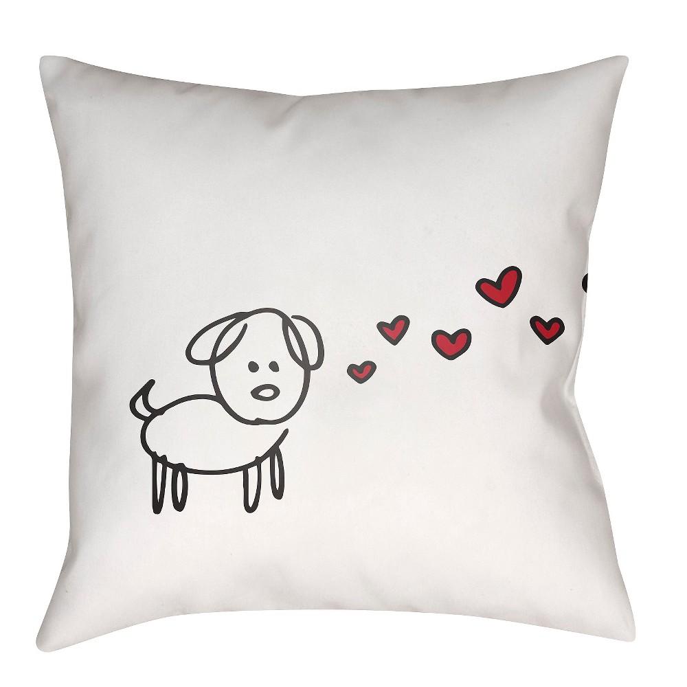 White Pawfect Love Dog Throw Pillow 18