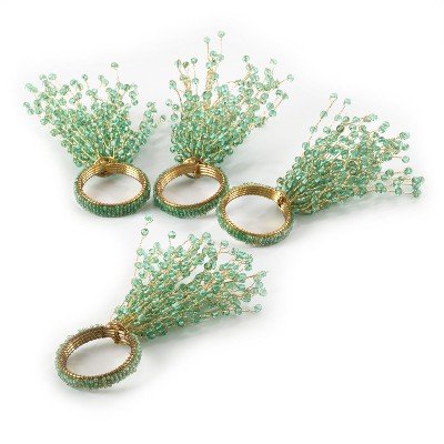 4pk Aqua Beaded Design Napkin Ring 1.5  - Saro Lifestyle®