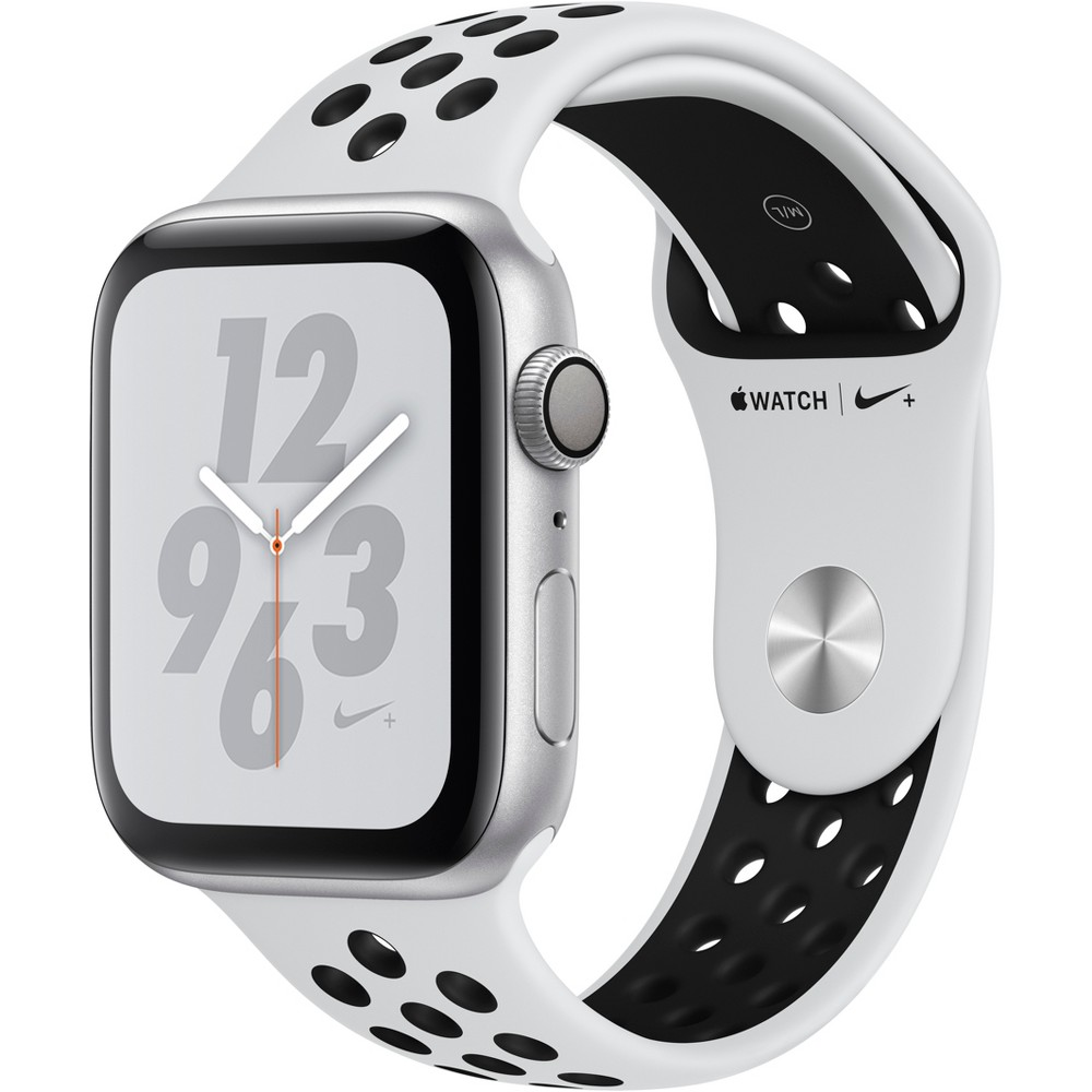 Apple Watch Series 4 Nike+ Gps 44mm Silver Aluminum Case with Nike Sport Band - Pure Platinum/Black, White Sport Band