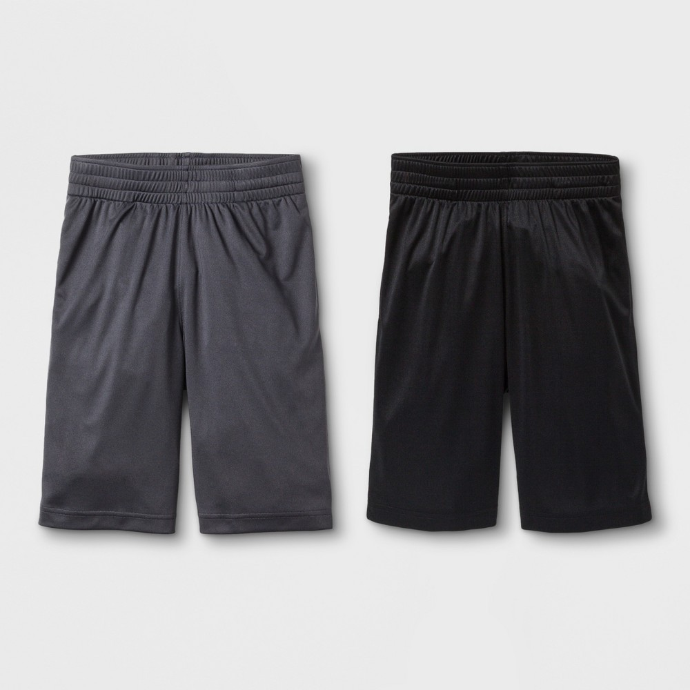 Image of Boys' 2pk Activewear Shorts - Cat & Jack Black/Charcoal L, Boy's, Size: Large