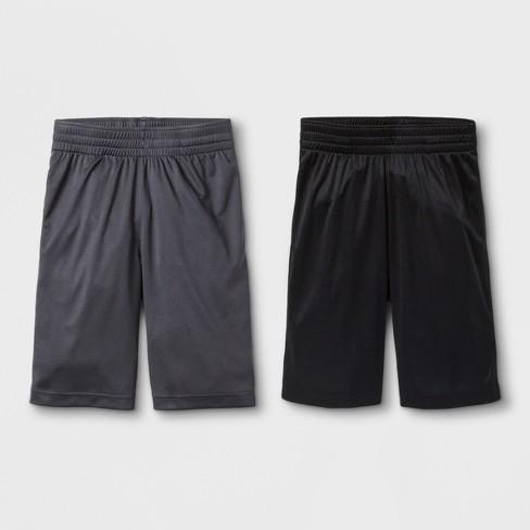 Boys' 2pk Activewear Shorts - Cat & Jack™ Black/Charcoal - image 1 of 1