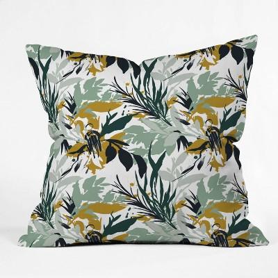 Marta Barragan Camarasa Botanical Brushstrokes Square Throw Pillow Merona Gold - Deny Designs