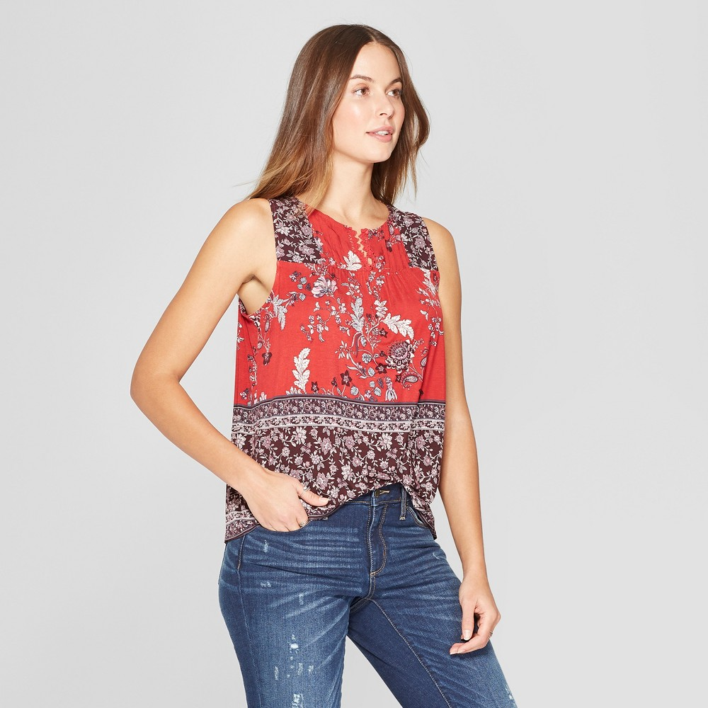 Women's Floral Print Sleeveless Keyhole Back Blouse - Knox Rose Red L