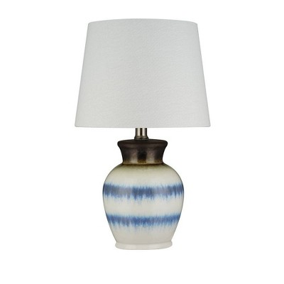 """10"""" Ceramic Table Lamp with Accents (Includes LED Light Bulb) White/Silver - Cresswell Lighting"""