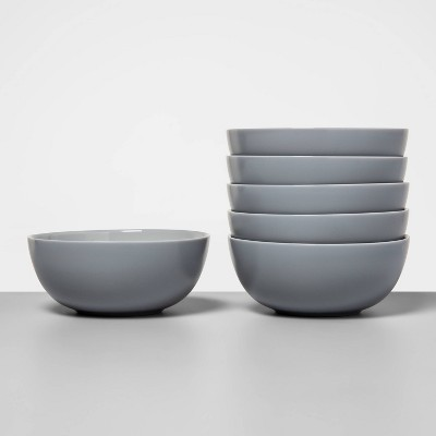 16oz 6pk Glass Bowls Gray - Made By Design™