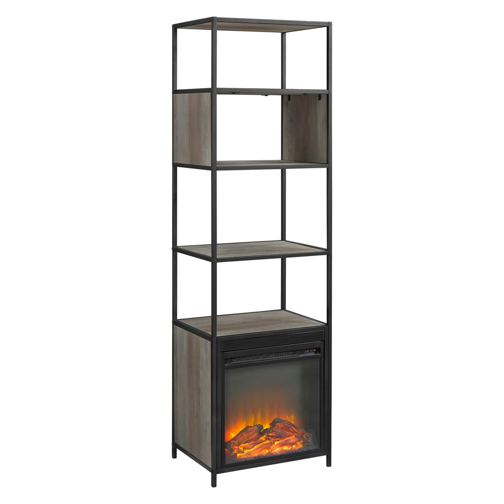 70 Metal and Wood Tower Fireplace Gray Wash - Saracina Home
