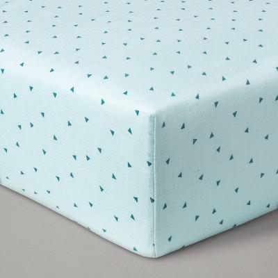 Fitted Crib Sheet Muslin Mint Triangles - Cloud Island™ Mint