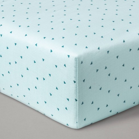 Fitted Crib Sheet Muslin Mint Triangles - Cloud Island™ Mint - image 1 of 2