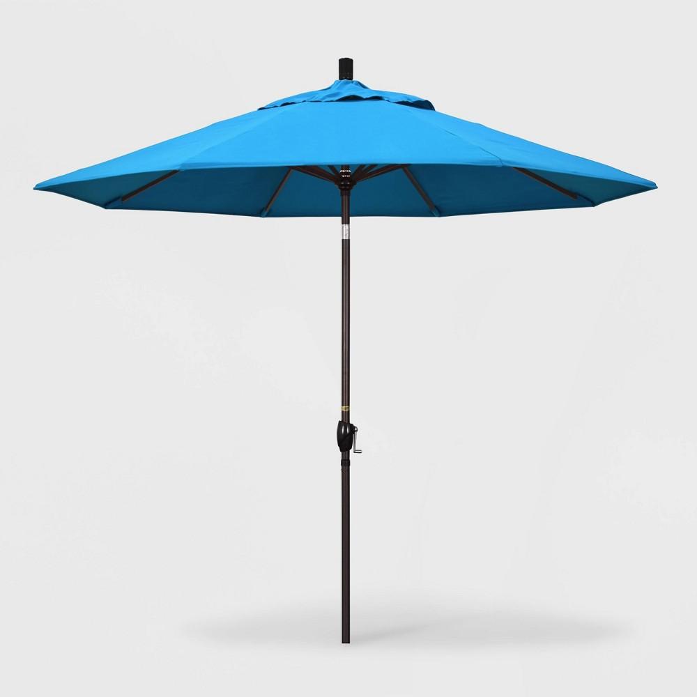 9' Pacific Trail Patio Umbrella Push Button Tilt Crank Lift - Sunbrella Canvas Cyan (Blue) - California Umbrella