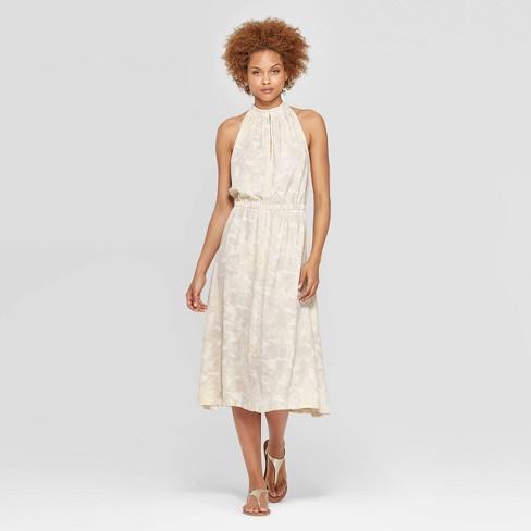 84dcf5289d4 Women's Sleeveless Halter Neck Shirred Midi Dress - Prologue™ Cream