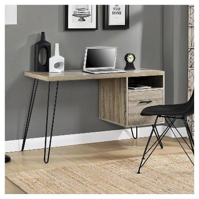 Charmant Seasons Hairpin Computer Desk Sonoma Oak/ Gunmetal Gray   Room U0026 Joy