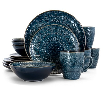 16pc Stoneware Mural Dinnerware Set Blue - Elama