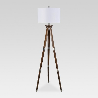 Wood Tripod Floor Lamp Nickel Lamp Only - Threshold™