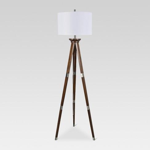 Wood Tripod Floor Lamp Nickel Threshold