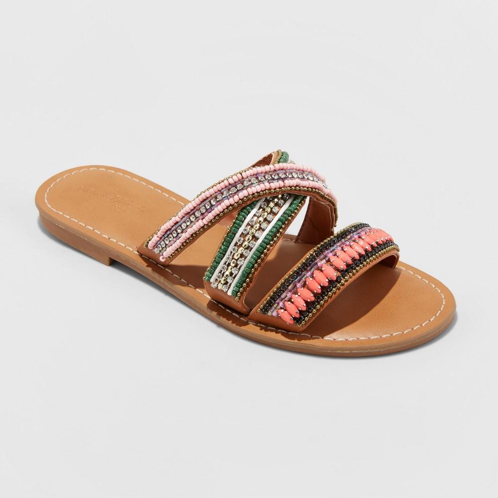 Women's Zelma Beaded Slide Sandals - Universal Thread Tan 12, Beige