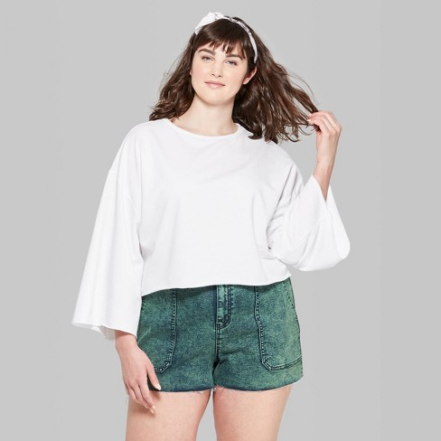 bc331dd19655d Women s Plus Size Wide Sleeve Crewneck Sweatshirt - Wild Fable™ Fresh White