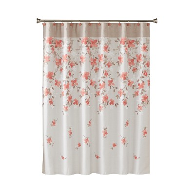 Coral Garden Floral Shower Curtain Coral - Saturday Knight Ltd.