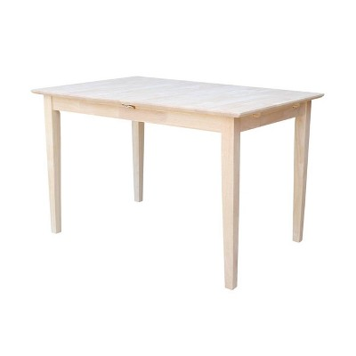Extendable Dining Table with Butterflyand Shaker Style Legs Unfinished - International Concepts