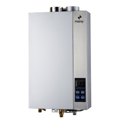 Marey GA14CSALP 97000 BTUs Residential CSA Certified Liquid Propane Gas Tankless Water Heater w/ 3 Points of Use, Auto Activation, & Digital Display