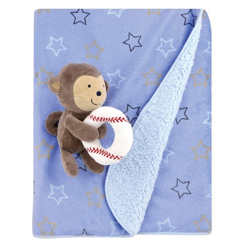 Baby Baseball Valboa Blanket with Monkey Plush Rattle - Just One You™ Made by Carter's® Blue - image 1 of 1