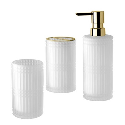 3pc Devon Lotion Pump/Toothbrush Holder/Tumbler Set White - Allure Home Creations