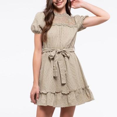 Mine Fashion Women's Textured Lace Yoke Mini Dress