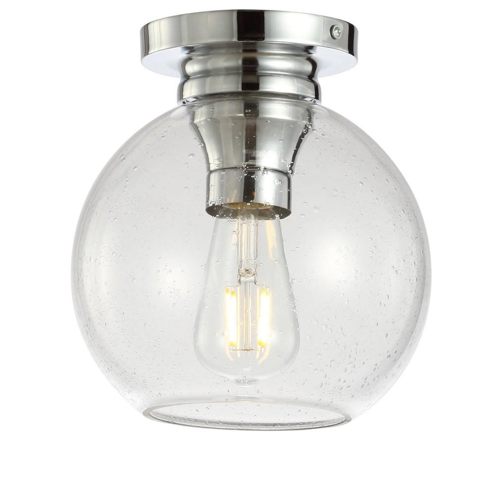 7 75 34 Metal Bubbled Glass Atlas Flush Mount Includes Energy Efficient Light Bulb Silver Jonathan Y