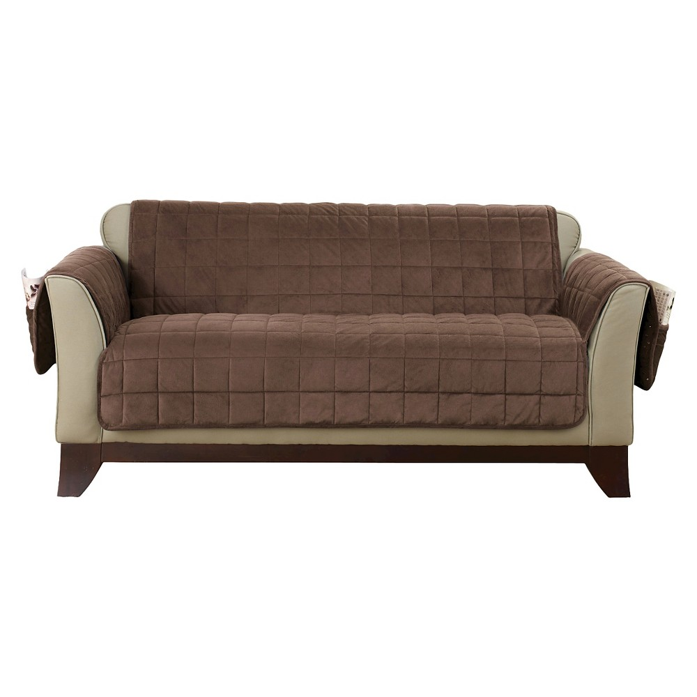 Velvet Pet Throw Loveseat Slipcover Chocolate Brown Sure Fit