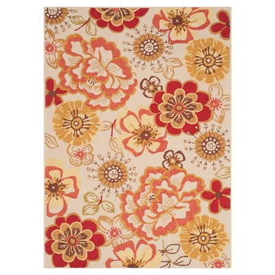 Ivory/Red Floral Hooked Accent Rug 2'3 X3'9  - Safavieh