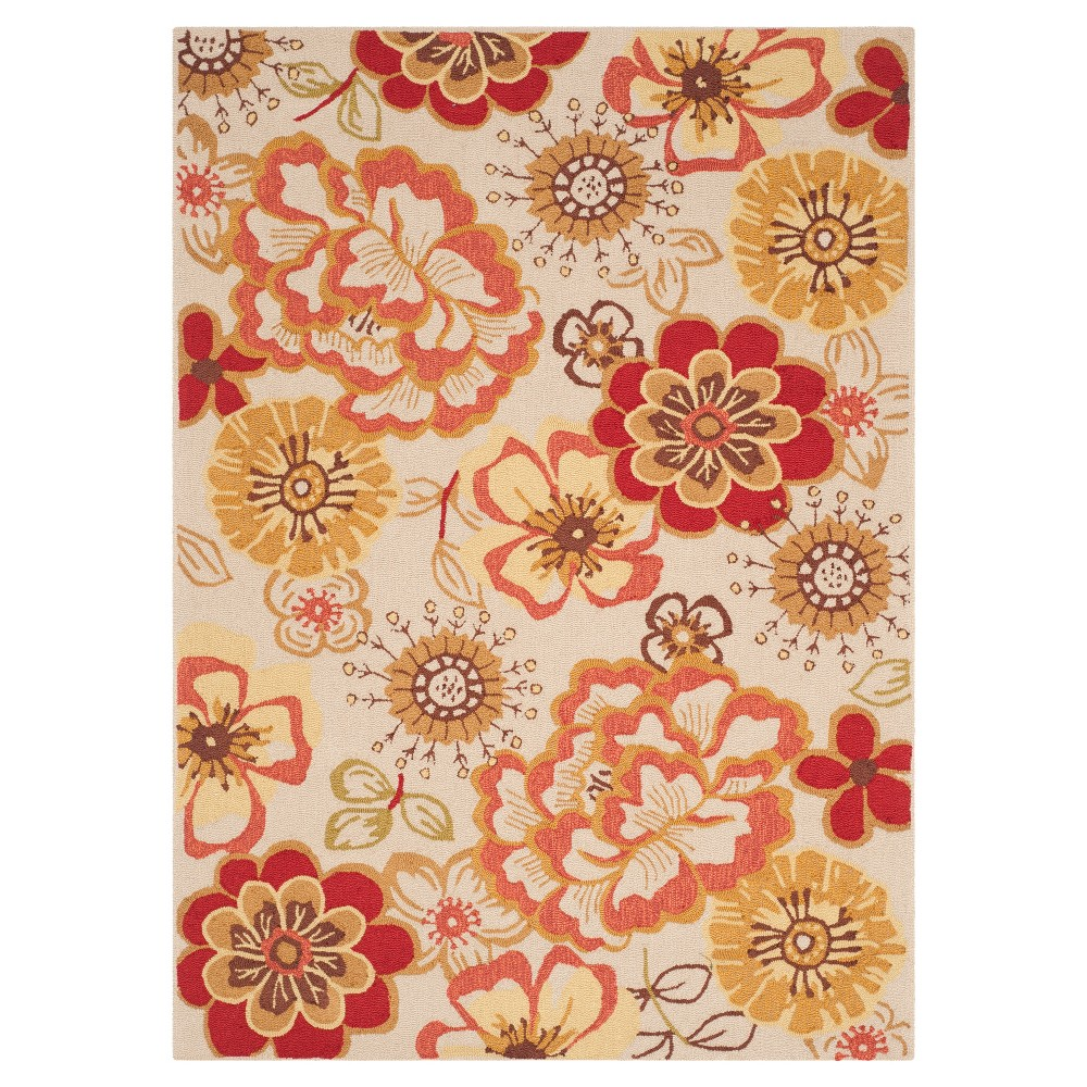 Ivory/Red Floral Hooked Area Rug 5'X7' - Safavieh