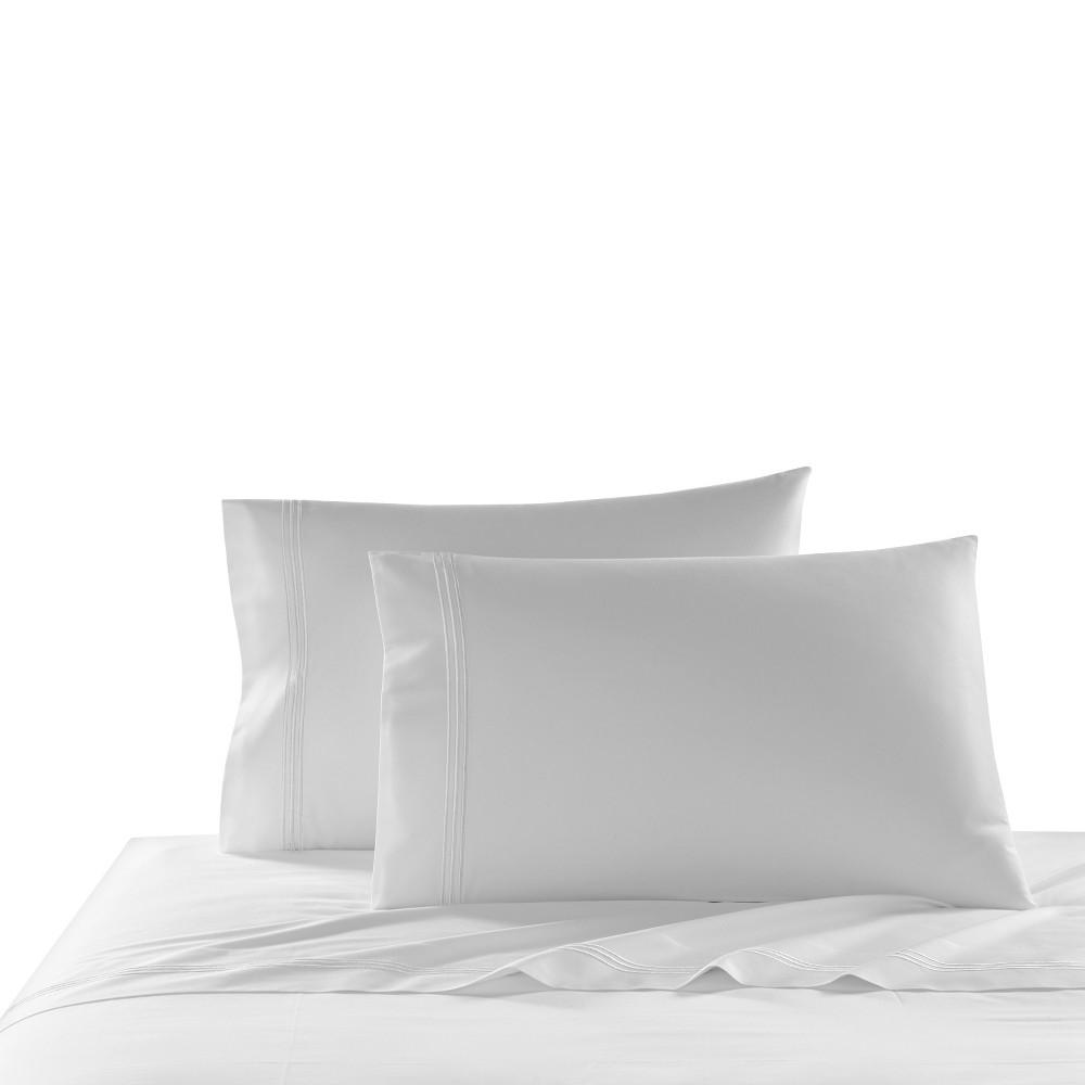 Coupons Queen 2pk Triple Line Solid Pillowcase Set White - Cassadecor
