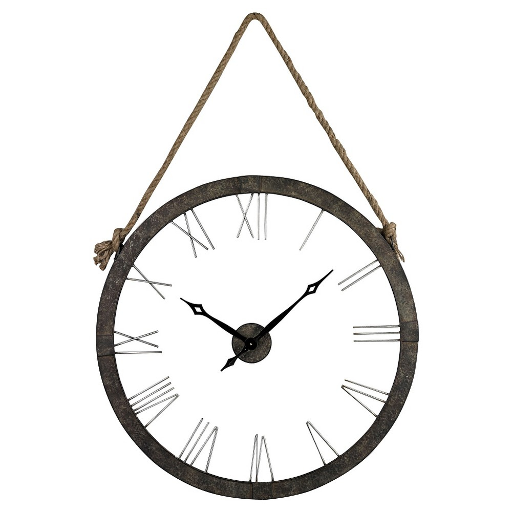 Rustic Iron 36 Wall Clock Gray - Lazy Susan