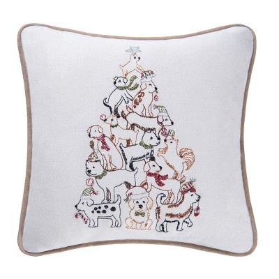 """C&F Home 10"""" x 10"""" Puppy Tree Embroidered Pillow"""