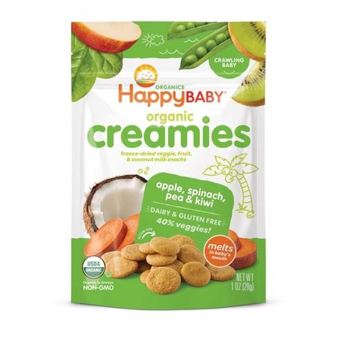 HappyBaby Organic Creamies Apple Spinach Pea & Kiwi Freeze-Dried Baby Snacks - 1oz - image 1 of 4